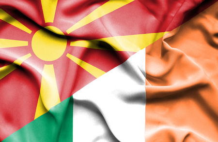 ireland flag: Waving flag of Ireland and Macedonia Stock Photo
