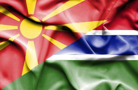 gambia: Waving flag of Gambia and Macedonia