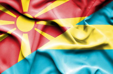 bahamas: Waving flag of Bahamas and Macedonia