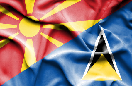 st lucia: Waving flag of St Lucia and Macedonia