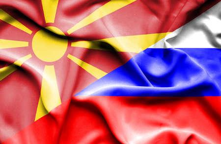 Waving flag of Russia and Macedonia