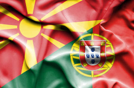 portugese: Waving flag of Portugal and Macedonia
