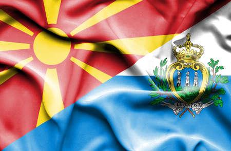 san marino: Waving flag of San Marino and Macedonia
