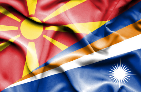 marshall: Waving flag of Marshall Islands and Macedonia Stock Photo