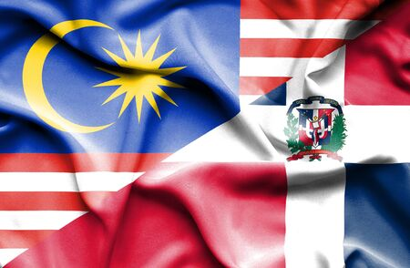 dominican republic: Waving flag of Dominican Republic and Malaysia