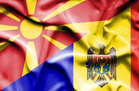 moldavia: Waving flag of Moldavia and Macedonia Stock Photo