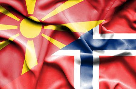 norway flag: Waving flag of Norway and Macedonia