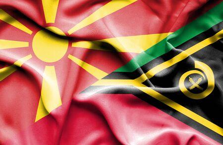 vanuatu: Waving flag of Vanuatu and Macedonia
