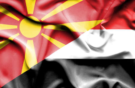yemen: Waving flag of Yemen and Macedonia Stock Photo