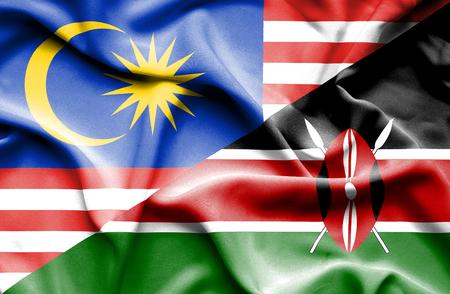 kenya: Waving flag of Kenya and Malaysia Stock Photo