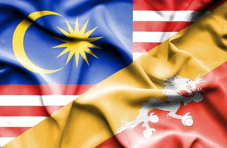 bhutan: Waving flag of Bhutan and Malaysia