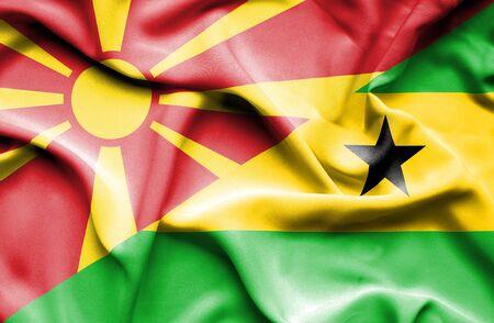 principe: Ondeando la bandera de Santo Tom� y Pr�ncipe y Macedonia