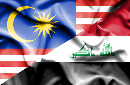 iraq money: Waving flag of Iraq and Malaysia