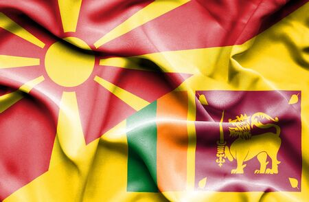 sri: Waving flag of Sri Lanka and Macedonia Stock Photo