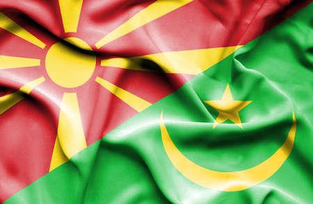 mauritania: Waving flag of Mauritania and Macedonia
