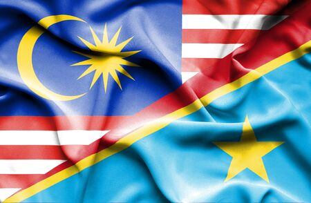 democratic: Waving flag of Congo Democratic Republic and Malaysia Stock Photo