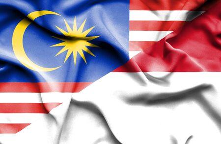 national flag indonesian flag: Waving flag of Indonesia and Malaysia