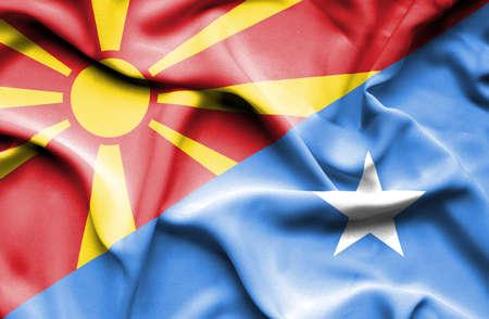 somalia: Waving flag of Somalia and Macedonia