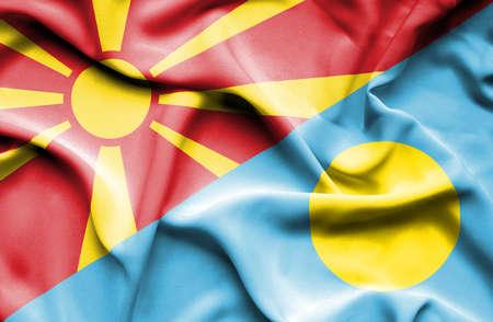 palau: Waving flag of Palau and Macedonia
