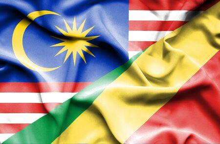 Congo: Waving flag of Congo Republic and Malaysia