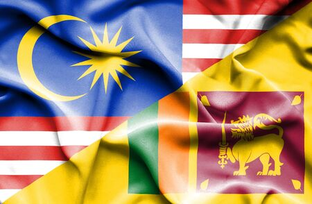 sri lankan flag: Waving flag of Sri Lanka and Malaysia Stock Photo