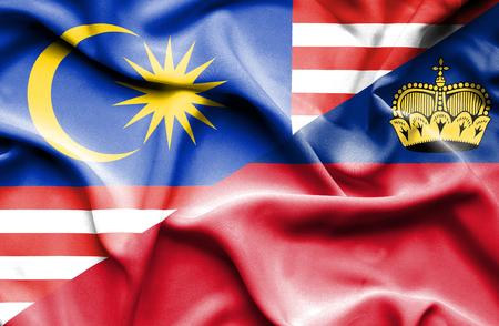 lichtenstein: Waving flag of Lichtenstein and Malaysia Stock Photo
