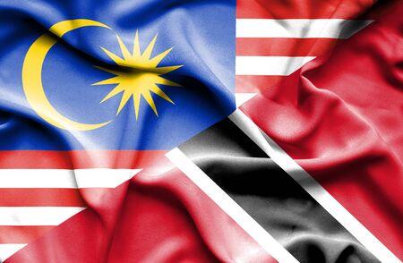 tobago: Waving flag of Trinidad and Tobago and Malaysia