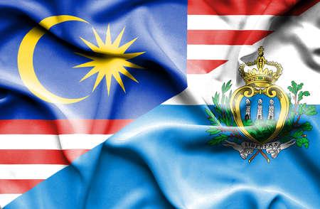marino: Waving flag of San Marino and Malaysia
