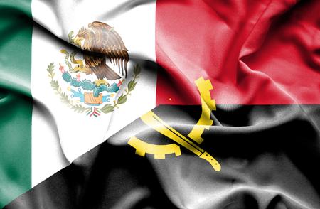 angola: Waving flag of Angola and Stock Photo