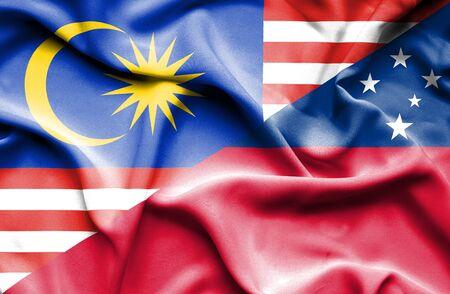 samoa: Waving flag of Samoa and Malaysia