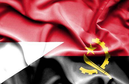 monaco: Waving flag of Angola and Monaco