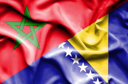 bosnia and  herzegovina: Waving flag of Bosnia and Herzegovina and Morocco