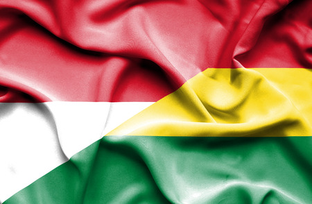 monaco: Waving flag of Bolivia and Monaco
