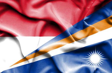 monaco: Waving flag of Marshall Islands and Monaco