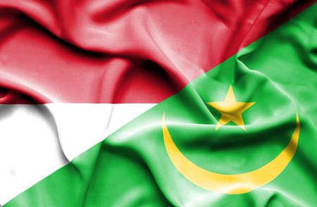 monaco: Waving flag of Mauritania and Monaco