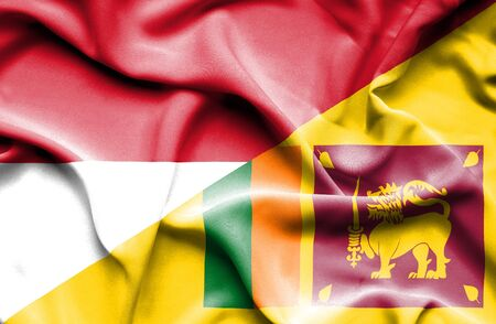 sri lanka: Waving flag of Sri Lanka and Monaco