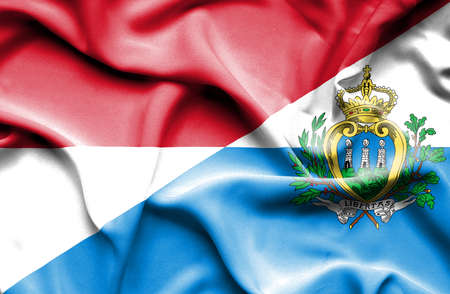 san marino: Waving flag of San Marino and Monaco