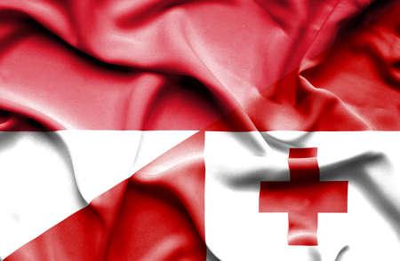 monaco: Waving flag of Tonga and Monaco Stock Photo