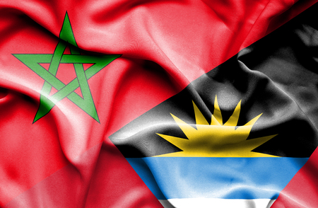 antigua: Waving flag of Antigua and Barbuda and Morocco