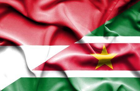 monaco: Waving flag of Suriname and,Monaco,Monaco flag, Monaco