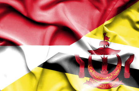 monaco: Waving flag of Brunei and Monaco