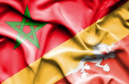 bhutan: Waving flag of Bhutan and Morocco