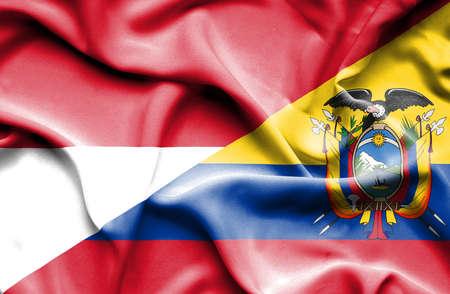 ecuador: Waving flag of Ecuador and Monaco Stock Photo