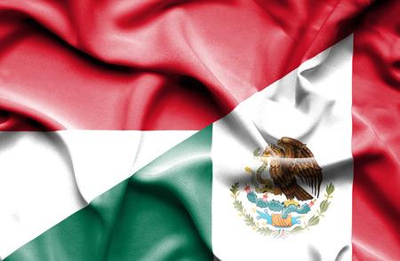 monaco: Waving flag of Mexico and Monaco Stock Photo