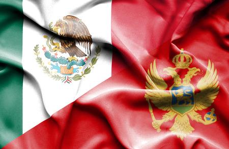montenegro: Waving flag of Montenegro and