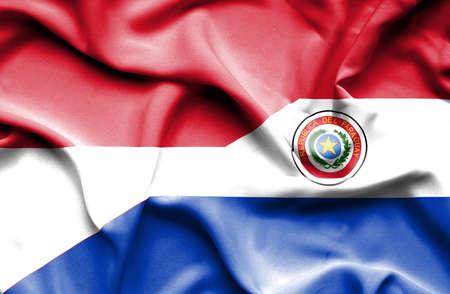 monaco: Waving flag of Paraguay and Monaco