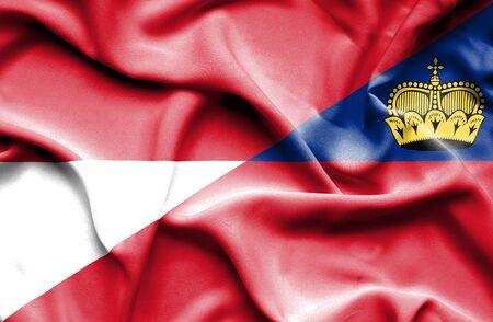 lichtenstein: Waving flag of Lichtenstein and Monaco