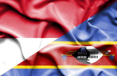 monaco: Waving flag of Swazliand and Monaco