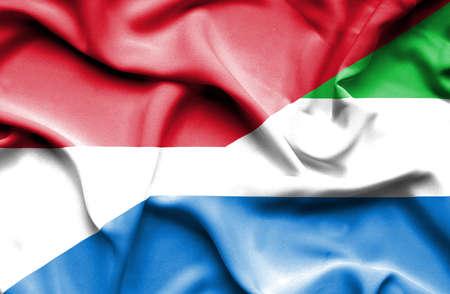 sierra: Waving flag of Sierra Leone and Monaco