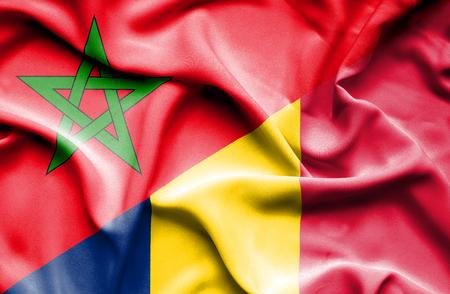 chad: Waving flag of Chad and Morocco